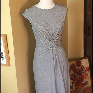 THEORY sz MEDIUM Knot Front Midi Rubric Dress $225